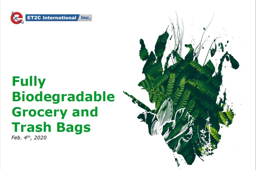 Biodegradable grocery and trash bags - ET2C International